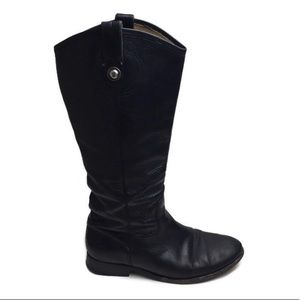 Frye Melissa Button Tall Lug Black Leather Boot